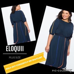 PLUS SIZE PUFF SLEEVE DRESS WITH PIPING SZ 16